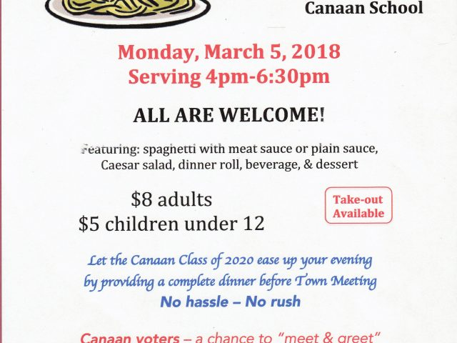 2018 Spaghetti Dinner – Before Canaan Town Meeting